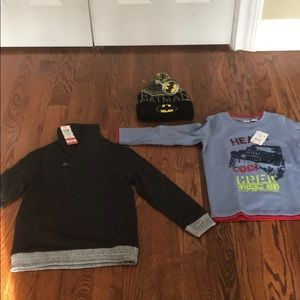 Boys bundle - new - sweater, shirt and hat
